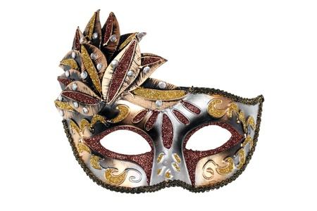 mascara de carnaval: Máscara de carnaval veneciano aislado en fondo blanco con trazado de recorte.