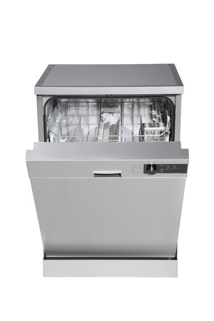 Modern freestanding dishwasher isolated on white with clipping path. photo