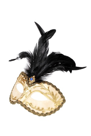 Gold and black feathered mask isolated over white with clipping path.  Stock Photo