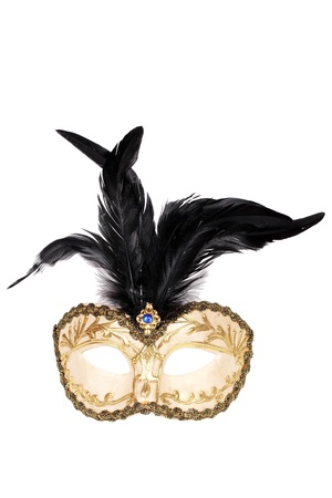 black feathered: Gold and black feathered mask isolated over white with clipping path.  Stock Photo