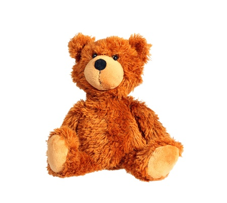 Sitting Teddybär isoliert über weiß