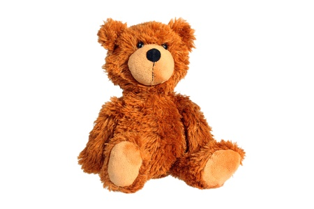 Sitting teddy bear isolated over white