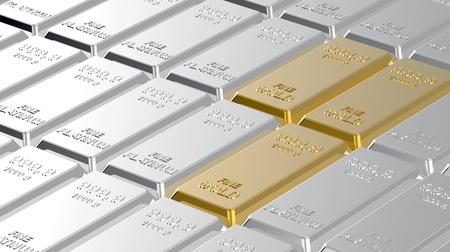 Gold and platinum ingots. Computer generated 3D photo rendering. photo