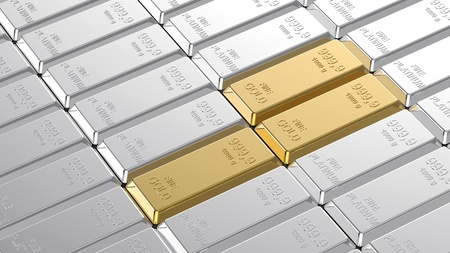 ingots: Gold and platinum ingots. Computer generated 3D photo rendering. Stock Photo
