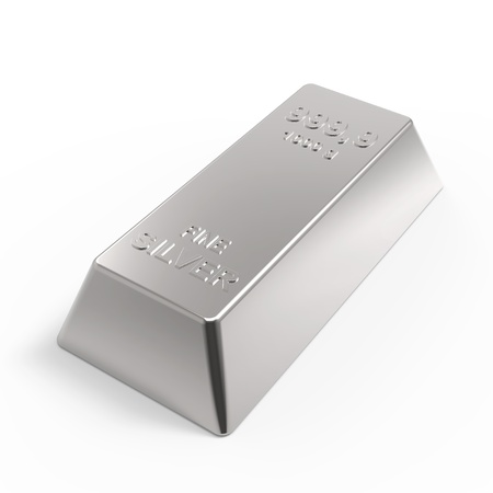 Silber Barren isoliert auf weiß. Computer generierte 3D-Foto-Rendering. Lizenzfreie Bilder