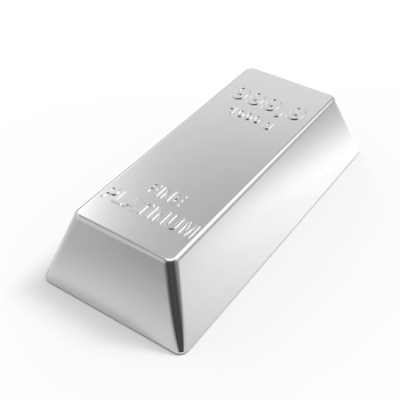 financial stability: Platinum ingot isolated on white. Computer generated 3D photo rendering.