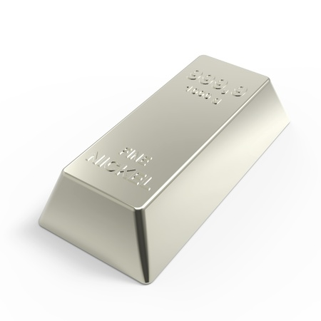 financial stability: Nickel ingot isolated on white. Computer generated 3D photo rendering.