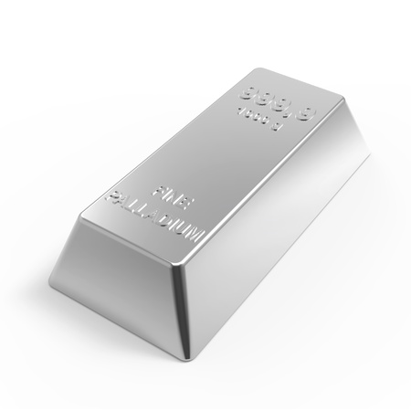 Palladium ingot isolated on white. Computer generated 3D photo rendering. Stock Photo - 12163006