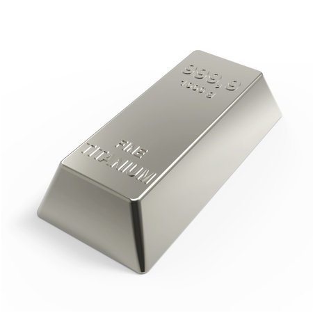 Titanium ingot isolated on white. Computer generated 3D photo rendering.