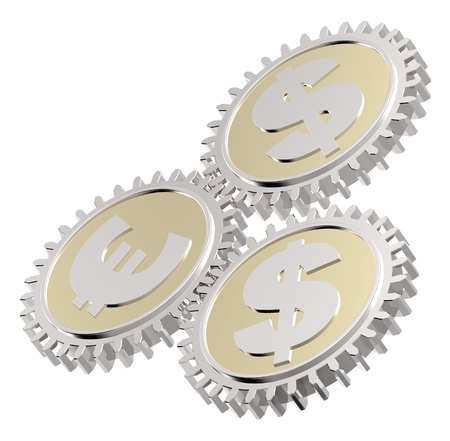 Linked gear with a dollar and euro sign. Computer generated 3D photo rendering. photo
