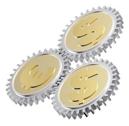 Linked gear with a dollar and euro sign. Computer generated 3D photo rendering. Stock Photo - 12163034