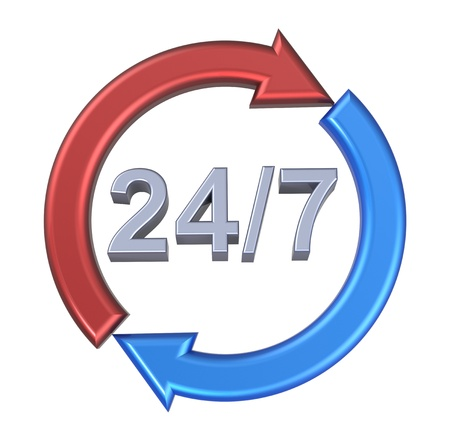 24 hours seven days a week sign over white. Computer generated 3D photo rendering. Stock Photo - 12163038