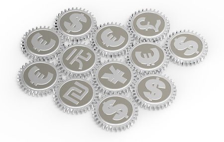 Linked gear with a money sign. Computer generated 3D photo rendering Stock Photo - 12163042