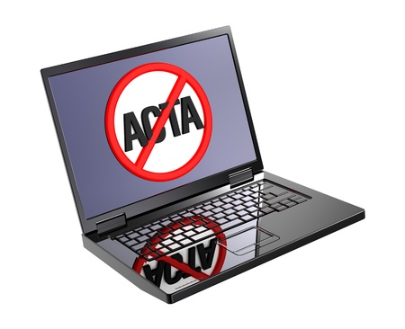 The concept of opposition to Trade Agreement ACTA inside internet. Computer generated 3D photo rendering. photo