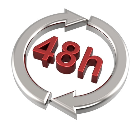 working hour: 48 hours delivery sign. Computer generated 3D photo rendering.