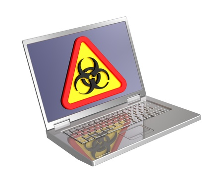 Biohazard sign on laptop screen isolated over white. Computer generated 3D photo rendering. photo