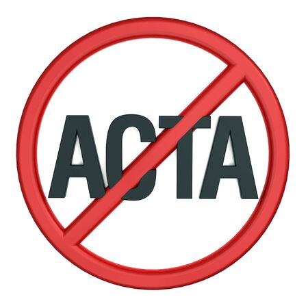 Sign of opposition to Trade Agreement ACTA. Computer generated 3D photo rendering. Stock Photo - 12467031