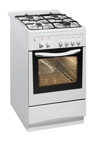White free standing cooker isolated over white with clipping path