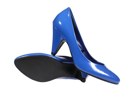 A pair of blue women s heel shoes isolated over white