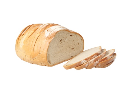 Sliced loaf of bread isolated over white background Foto de archivo