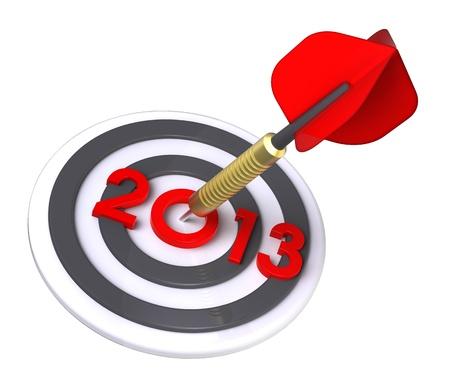 Dart hitting target - New Year 2013  Computer generated 3D photo rendering  photo