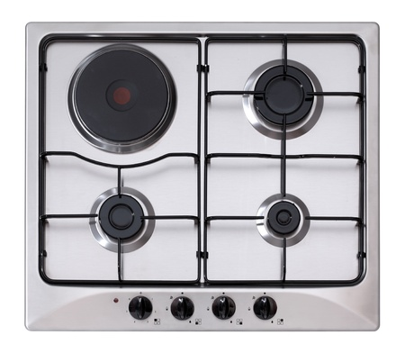 stainless steel gas and electric hob isolated on white photo