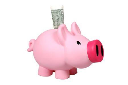 Piggy bank with Dollar bill  photo