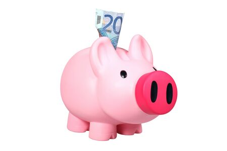 Piggy bank with Euro bill photo