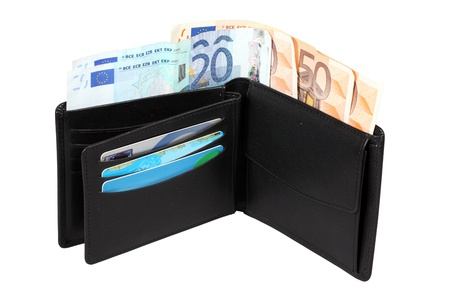 Wallet with euro banknotes photo