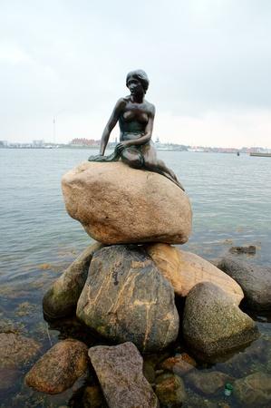 The little mermaid in Copenhagen, Denmark, Copenhagen 22 April 2012   The little mermaid on a rock is a symbol of Copenhagen  Editorial