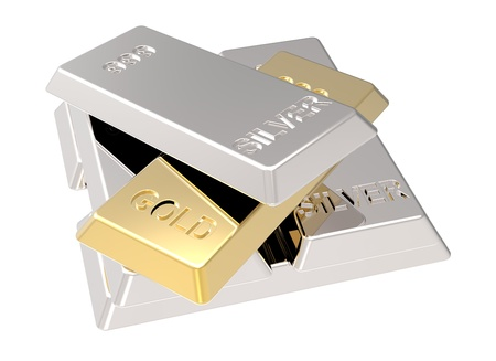 silver ingots: Silver and gold ingots isolated on white. Computer generated 3D photo rendering.