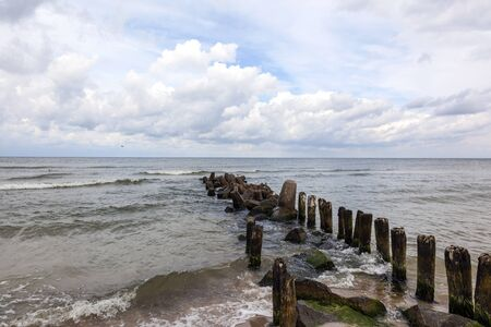 meer: A breakwater in the Baltic Sea, Poland  Stock Photo