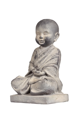 Statue of young Buddha isolated over white photo