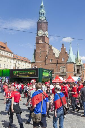 Wroclaw, Poland. Friday 8th June 2012. The fans in Fanzone before the Czech Republic Vs Russia game for Euro 2012.
