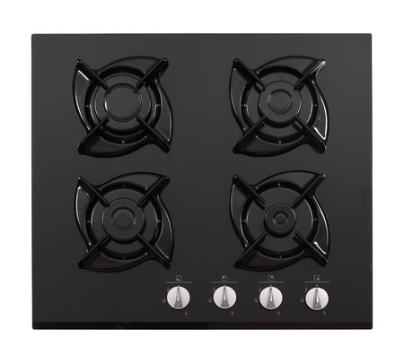 Black glass gas hob isolated on white Stock Photo - 14335102