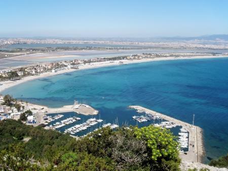 Marina Piccola und Poetto Beach, Cagliari, Sardinien, Italien Lizenzfreie Bilder