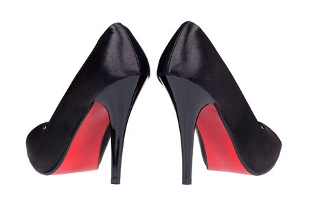 A pair of black women s heel shoes  photo