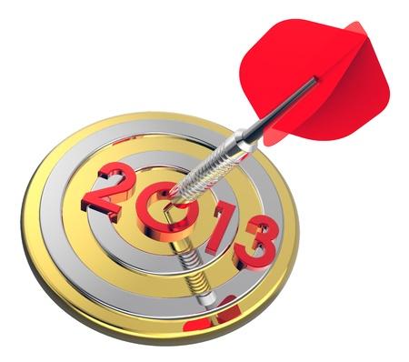 Dart hitting target - New Year 2013  Computer generated 3D  rendering  photo