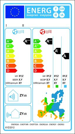 classify: Airconditioner new energy rating graph label  Illustration