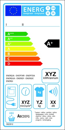 Tumbledryer condensation new energy rating graph label  Vector