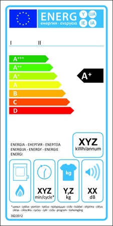 Tumbledryer gaz new energy rating graph label Stock Vector - 16104698