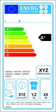 Tumbledryer electric new energy rating graph label Stock Vector - 16104691