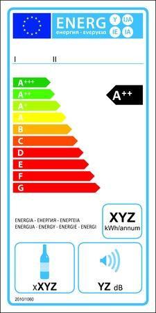 consumo energia: Vino appliance di storage nuova Valutazione Energy Label grafico