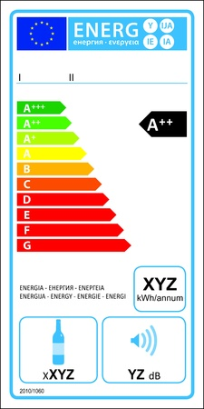 Wine storage appliances new energy rating graph label  Vector