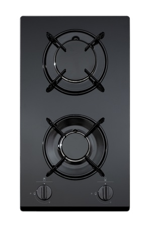 buit in: Black glass gas hob isolated on white  Stock Photo