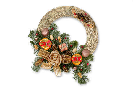 Christmas wreath isolated on white with clipping path  photo