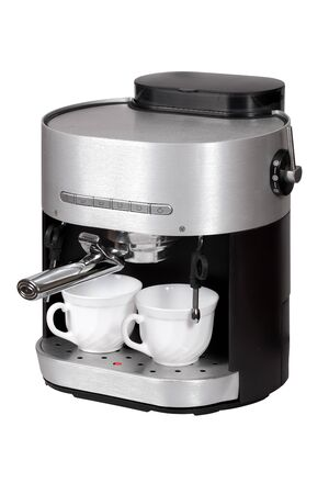 Coffee maker with the cups isolated over white with clipping path photo