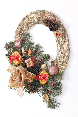 Christmas wreath isolated on white Stock Photo - 16902386