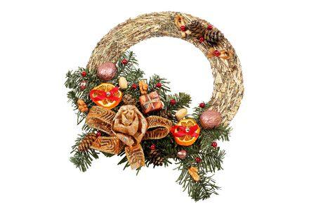 Christmas wreath isolated on white with clipping path Stock Photo - 16902389