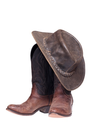 Cowboy boots and hat isolated with clipping path Stock Photo - 17197255